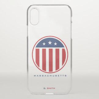 Capa Para iPhone X Monograma. Bandeira americana dos E.U.