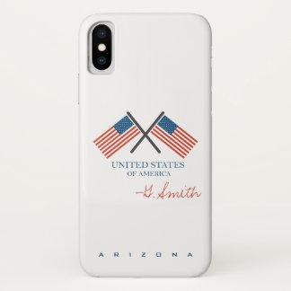 Capa Para iPhone X Monograma. Bandeira americana dos E.U. O Arizona