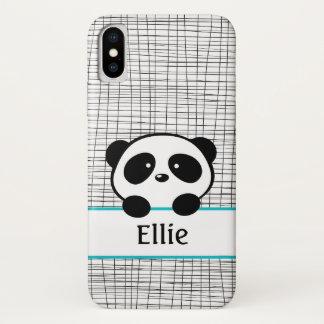 Capa Para iPhone X Monograma bonito do nome do urso de panda no Aqua