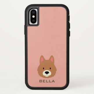 Capa Para iPhone X Monograma. Cão de filhote de cachorro bonito