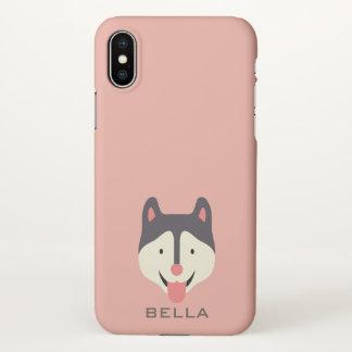 Capa Para iPhone X Monograma. Cão de filhote de cachorro ronco bonito