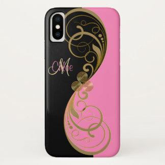Capa Para iPhone X Monograma cor-de-rosa e preto elegante de Triskele