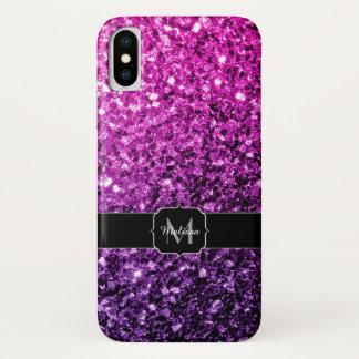 Capa Para iPhone X Monograma cor-de-rosa roxo dos sparkles do brilho