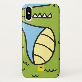 Capa Para iPhone X Monograma. Crocodilo verde bonito do Doodle