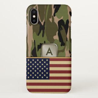 Capa Para iPhone X Monograma da camuflagem da bandeira americana