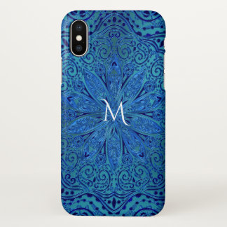 Capa Para iPhone X Monograma da mandala de turquesa e de azuis