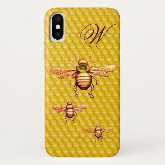 CAPA PARA iPhone X  MONOGRAMA DAS ABELHAS DO MEL DO OURO