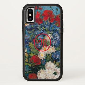 Capa Para iPhone X Monograma das flores de Van Gogh & de Elizabeth -