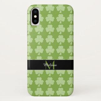 Capa Para iPhone X Monograma do dia de Patrick das bolinhas do trevo