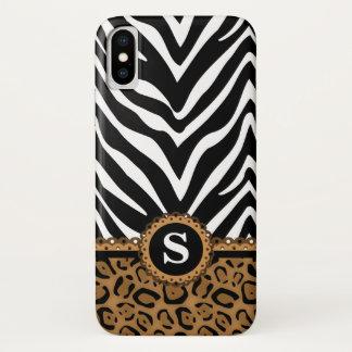 Capa Para iPhone X Monograma do impressão da zebra e do leopardo