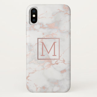Capa Para iPhone X monograma do ouro do falso na pedra de mármore
