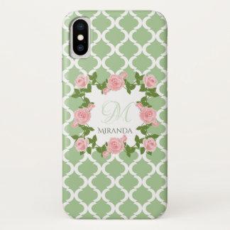 Capa Para iPhone X Monograma do rosa do rosa de Quatrefoil do verde