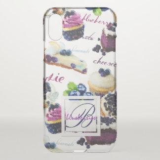 Capa Para iPhone X Monograma dos mirtilos e dos doces da aguarela