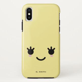 Capa Para iPhone X Monograma. Emoticon bonito de Emoji do smiley de