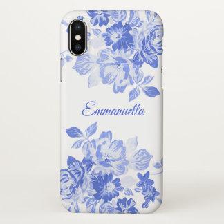 Capa Para iPhone X Monograma floral do azul marinho e o branco da