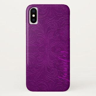 Capa Para iPhone X Monograma floral roxo do olhar do couro da camurça