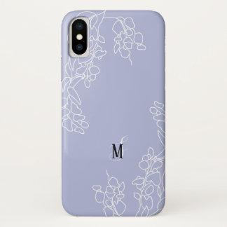 Capa Para iPhone X Monograma floral tirado mão das glicínias
