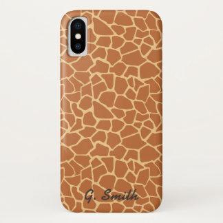 Capa Para iPhone X Monograma: Girafa bonito. Safari.