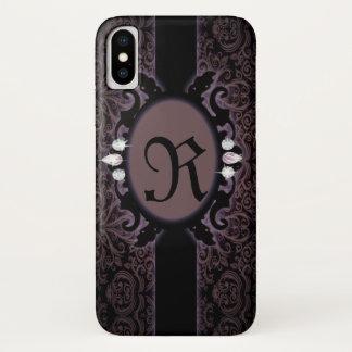 Capa Para iPhone X monograma gótico roxo da ameixa preta do steampunk