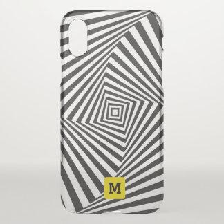 Capa Para iPhone X Monograma. Ilusão óptica do redemoinho preto &