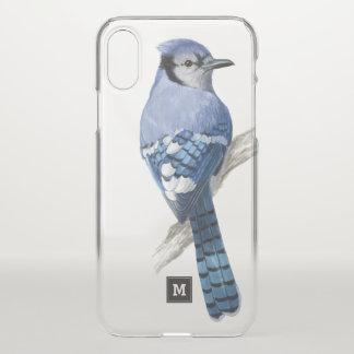 Capa Para iPhone X Monograma. Jay azul bonito. Ilustração do pássaro