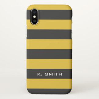 Capa Para iPhone X Monograma. Listras pretas e amarelas da abelha