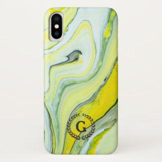 Capa Para iPhone X Monograma. Louro do trigo no mármore verde