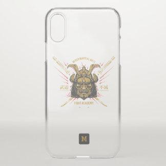 Capa Para iPhone X Monograma. Máscara japonesa do ouro do samurai