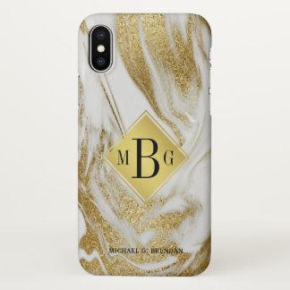 Capa Para iPhone X Monograma masculino ouro branco marmoreado com