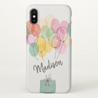Capa Para iPhone X Monograma. O arco-íris Balloons a ilustração