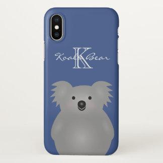 Capa Para iPhone X Monograma peluches bonito do urso de Koala do bebê
