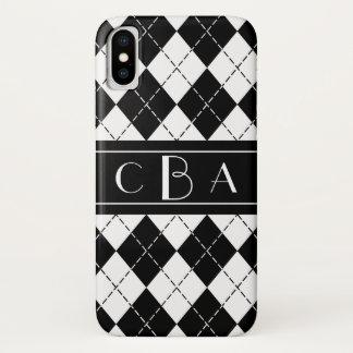 Capa Para iPhone X Monograma preto e branco elegante de Argyle