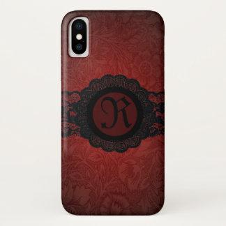 Capa Para iPhone X monograma preto vermelho do laço do victorian