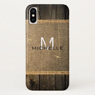 Capa Para iPhone X Monograma rústico de serapilheira de madeira velha