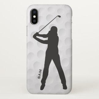 Capa Para iPhone X Monograma. Silhueta do jogador de golfe na textura