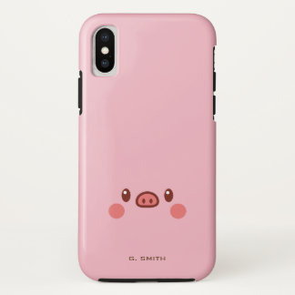 Capa Para iPhone X Monograma. Smiley bonito Emoji de Kawaii Piggy.