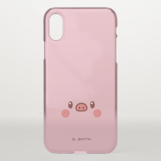 Capa Para iPhone X Monograma. Smiley bonito Emoji de Kawaii Piggy.