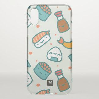 Capa Para iPhone X Monograma. Teste padrão japonês bonito do sushi de