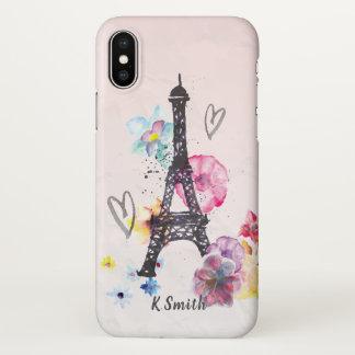 Capa Para iPhone X Monograma. Torre Eiffel da aguarela em Paris