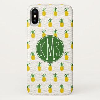 Capa Para iPhone X Monograma tropical dourado dos abacaxis |