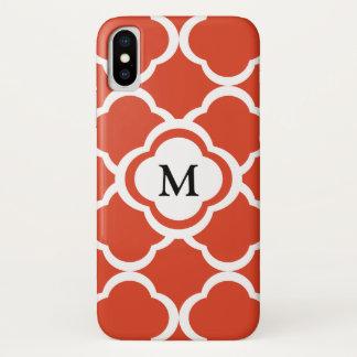 Capa Para iPhone X Monograma vermelho & branco da tangerina de