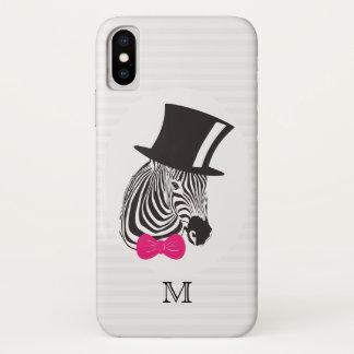 Capa Para iPhone X Monograma. Zebra do hipster com o chapéu alto