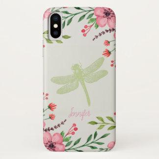 Capa Para iPhone X Monogramed pintou flores e libélula