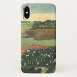 Capa Para iPhone X Monte de feno em Brittany por Paul Gauguin, arte
