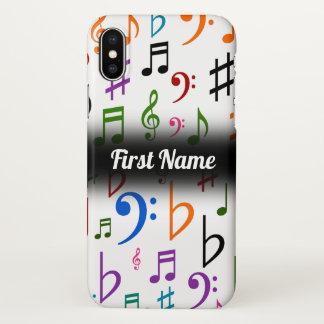 Capa Para iPhone X Muitos notas e símbolos coloridos da música; Nome