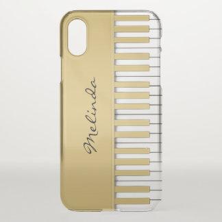 Capa Para iPhone X Música elegante do teclado de piano do ouro
