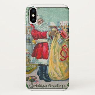 Capa Para iPhone X Natal vintage, Victorian Papai Noel com brinquedos