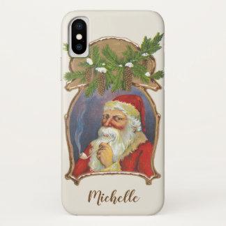 Capa Para iPhone X Natal vintage, Victorian Papai Noel com tubulação