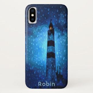 Capa Para iPhone X Noite azul tormentoso do farol e chuvosa escura
