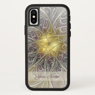 Capa Para iPhone X Nome abstrato moderno da flor do Fractal do ouro